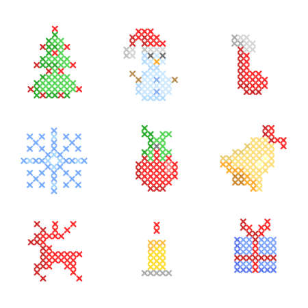 set of christmas embroidery Stock Photo - 8224525