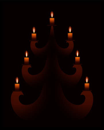 black background with stylized christmas tree and candles Stock Photo