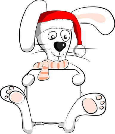 white santa rabbit holding a blank