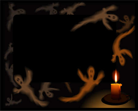 Black background with flying ghosts in the light of the candle