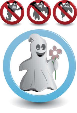 悲しい、悪意のある、臆病な幽霊の良い気分幽霊一時停止標識記号の記号を許可します。  イラスト・ベクター素材