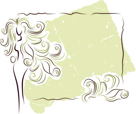 olive frame with silhouette of the woman with long hair Stock Vector - 10685854