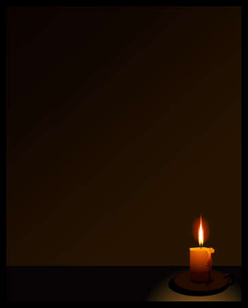 table surface: black background with candle  at the right bottom Illustration