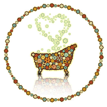 bath made of flowers. Illustration