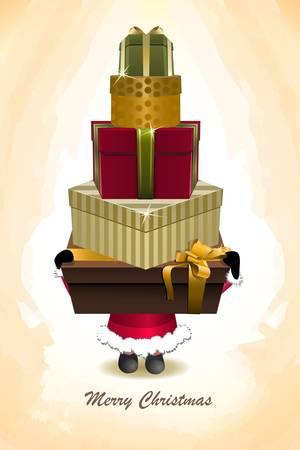 ベクトル サンタのクリスマスのギフトを保持