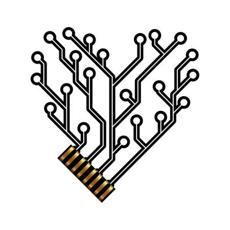 pcb: Technology circuit board heart Illustration