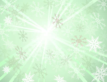 winter background with light burst and snowflakes.