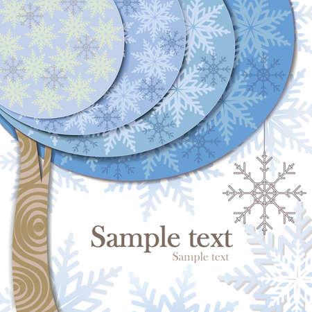 現代カードのデザインと様式化された冬の木