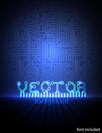 回路基板ブルー電子背景。