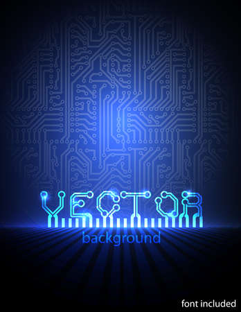printed: circuit board blue electronic background.