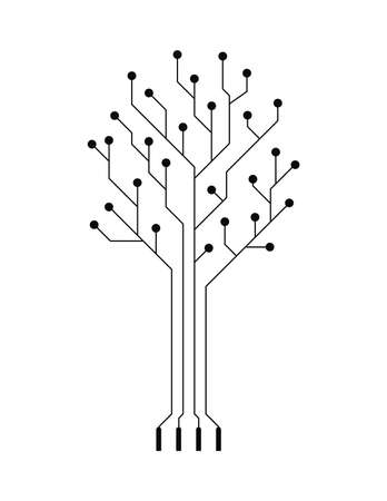 electronic circuit:  vector creative simple conceptual electronic tree