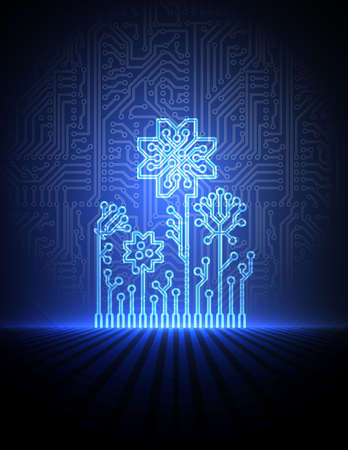electronic circuit: blue electronic flowers.