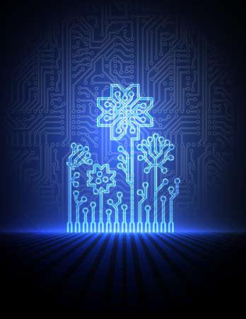 circuito electrico: flores de color azul electrónicos.