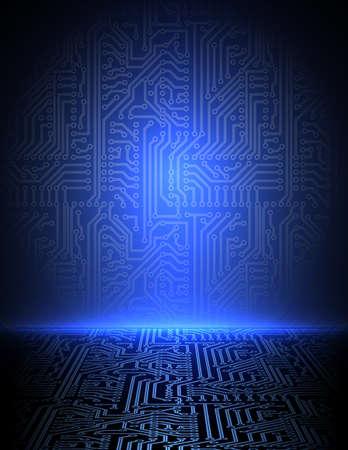 ブルー電子背景  イラスト・ベクター素材