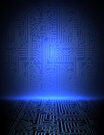 pcb: blue electronic background Illustration