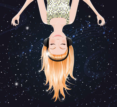 hanging girl: Vector girl listening to music of space. eps10 Illustration