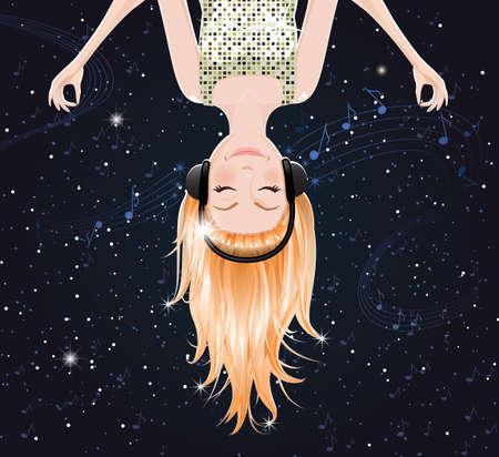 teen girl face: Vector ni�a de escuchar m�sica del espacio. eps10