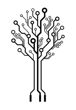 pcb: Conceptual logo circuit board tree isolated