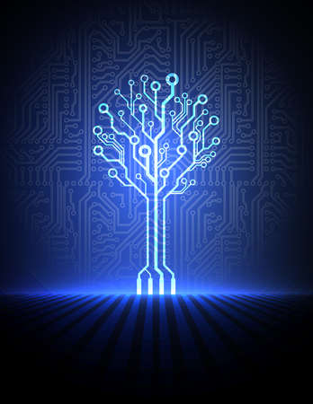 Vector circuit board background with electronic tree
