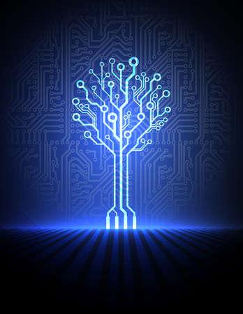 circuito electrico: Vector circuito de fondo de tablero con árbol de electrónica Vectores
