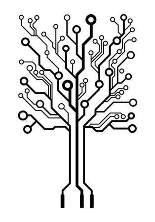 Vector logo circuit board tree