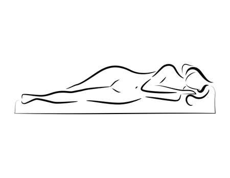 眠っている美しいヌード女性のシルエットのロゴをベクトルします。
