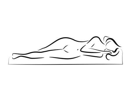 vector sleeping beautiful nude woman silhouette  logo