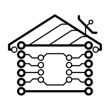 home automation: Vector electronic circuit board house logo