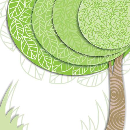 近代的な緑の木とベクトルの招待カード