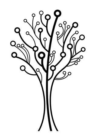 ベクトルのロゴ ラインの木のシルエット