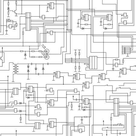 vector seamless electrical circuit diagram pattern Vector