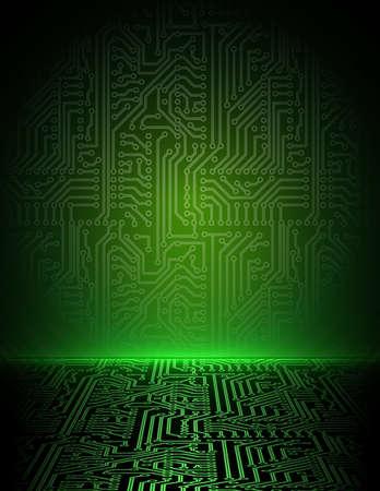 circuitos electricos: Vector verde de energ�a electr�nica de fondo. eps10