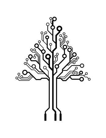 circuito electrico: Logo Vector triángulo de la placa de circuito del árbol Vectores