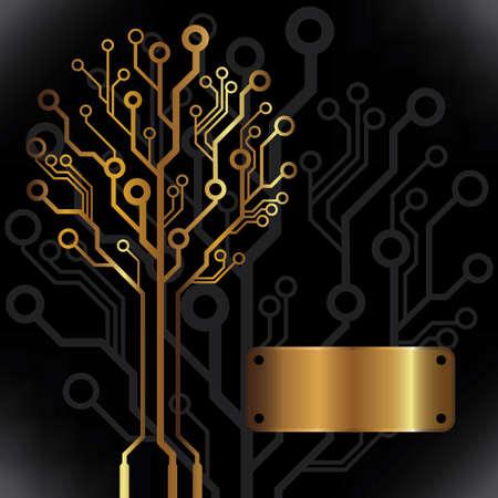 Vector golden circuit board tree background Illustration