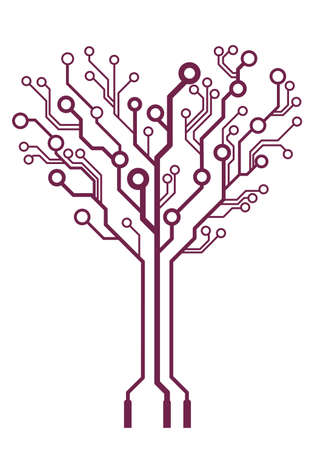 vector  abstract technology  heart tree