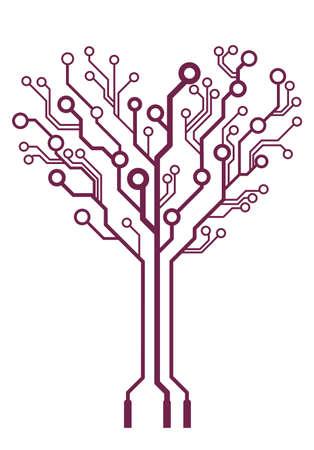 circuito electrico: vector de la tecnolog�a abstracta del coraz�n del �rbol