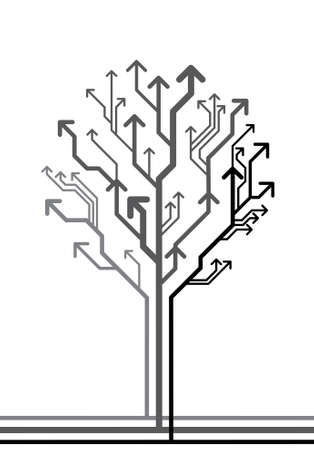別の方向につながる矢印から成っている木の抽象的な背景をベクトルします。  イラスト・ベクター素材