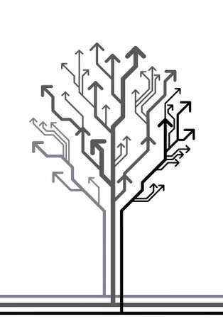 verhogen: vector abstracte achtergrond met boom gemaakt van pijlen leiden in verschillende richtingen