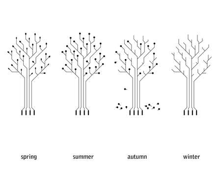 技術季節概念 (回路基板の木)