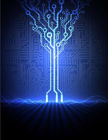 сеть: концептуальных электронных фоне Иллюстрация
