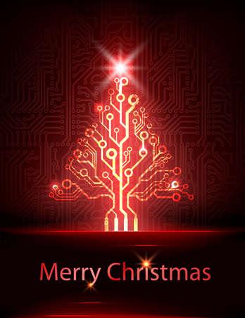 電子のクリスマス ツリー  イラスト・ベクター素材