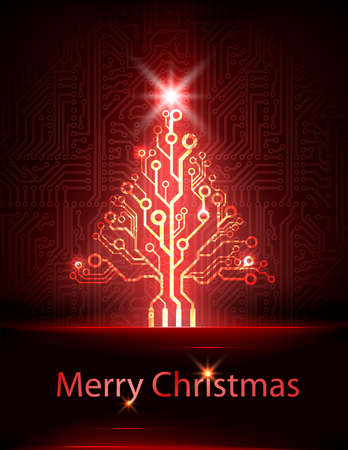 electronic christmas tree Vector