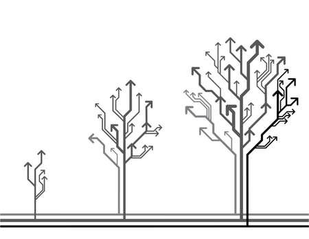 ベクトルの成長の概念。木から成っている矢印