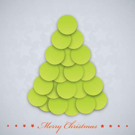 Vector modern  Christmas tree. Xmas card.