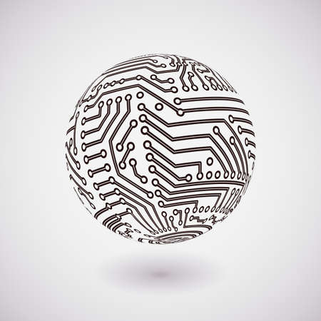 circuit board: vector circuit board sphere