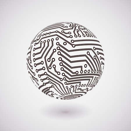 circuitos electronicos: vector circuito esfera bordo