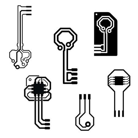electronic circuit board keys Vector
