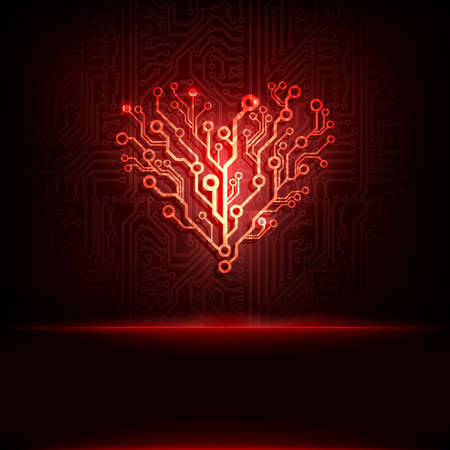 Vector circuit board background with heart