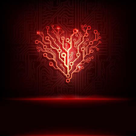 Vector printplaat achtergrond met hart