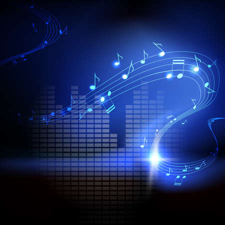 pentagrama musical: fondo con las notas musicales